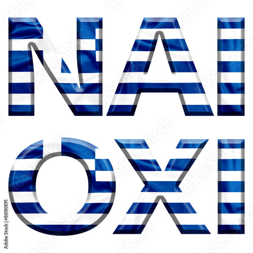 Fotografie, Tablou  Yes and No written in Greek with Greek flag covered letters for the Greek refere