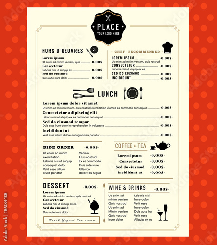 Menu Design with logo Restaurant Cafe shop Graphic Template Wall mural