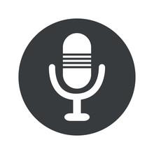 Monochrome Round Microphone Icon