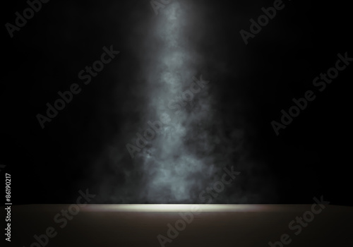 Spoed Foto op Canvas Licht, schaduw Stage with a smoky spotlight