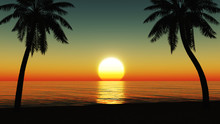 Sunset At The Tropical Beach W...