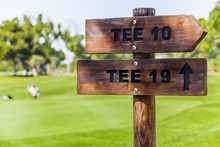 Wooden Sign Posts At Golf Cour...