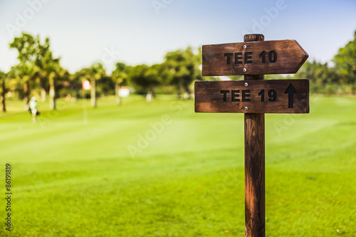 Fotografie, Obraz  Wooden sign posts at golf course.