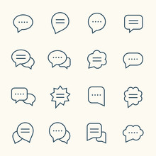 Speech Bubble Line Icon Set
