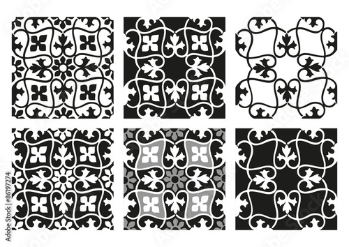 Recess Fitting Pattern Vector set of seamless floral patterns black and white vintage backgrounds collection
