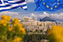 Acropolis With Flag Of Greece ...