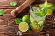 canvas print picture - Mojito drink on wooden planks