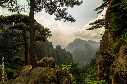 Autocollant pour porte Chine Huangshan mountains, China