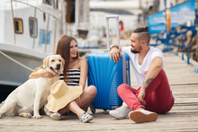 Couple In Love At The Pier Before Sailing To Travel
