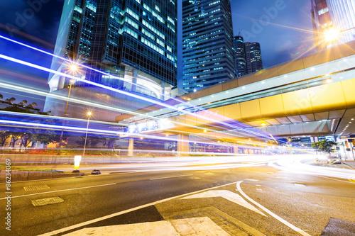 Photo  Traffic city night at hongkong