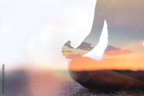 Door stickers Yoga school Double exposure of young woman practicing yoga in nature