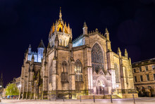 St Giles' Cathedral In Edinburgh At Night