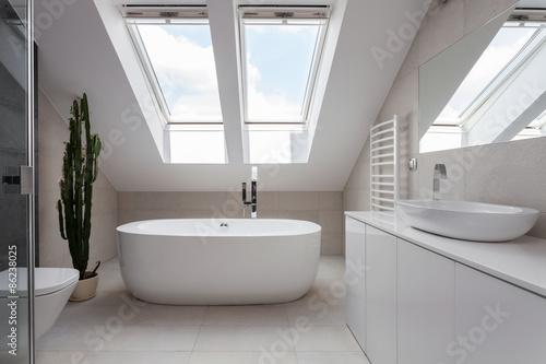 Obraz na płótnie Freestanding bath in white bathroom