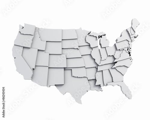 3D USA map white
