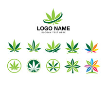 Marijuana Cannabis Icon Logo Set