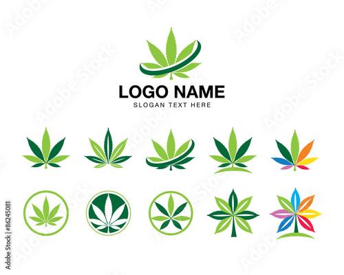 Cuadros en Lienzo marijuana cannabis icon logo set