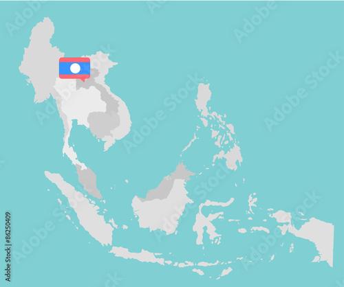 Asian map with point flags flat design vector – kaufen Sie diese ...