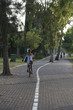 Girl riding a bicycle in a park