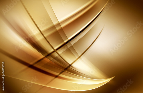 Fotomural  Brown Gold Light Abstract Waves Background