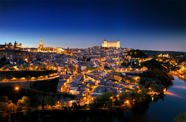 General view of Toledo in night time. Spain