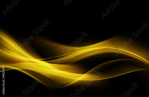 Fotobehang Fractal waves Fantastic Orange Yellow Light Abstract Waves Background