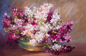 Fototapetaoil painting - bouquet of lilac, colorful still life