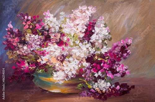 oil painting - bouquet of lilac, colorful still life