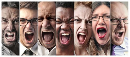 Vászonkép Angry people screaming