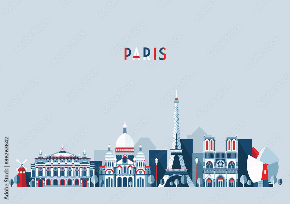 Fototapeta Paris France city skyline vector Flat trendy