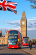 Big Ben with buses in London, England, UK