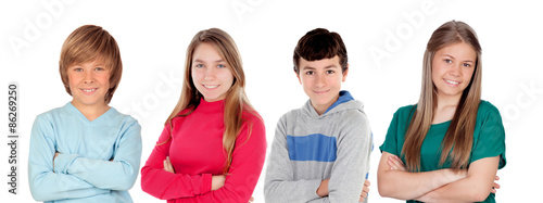 Four preteen friends isolated
