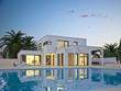Leinwanddruck Bild - Villa weiß mit Pool 1