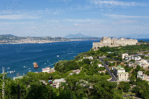 Baia gulf with castle, aerial view Canvas Print