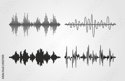 Fotografía  Set of vector sound waves
