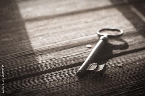 Fotografie, Obraz  Rusty Old Skeleton Key on Dark Rustic Barnwood With Window Light