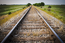 Railway, Railroad, Train Tracks, With Green Pasture Early Mornin