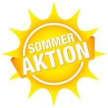 """Sonnen-Button Banner """"Sommeraktion"""" Gelb"""