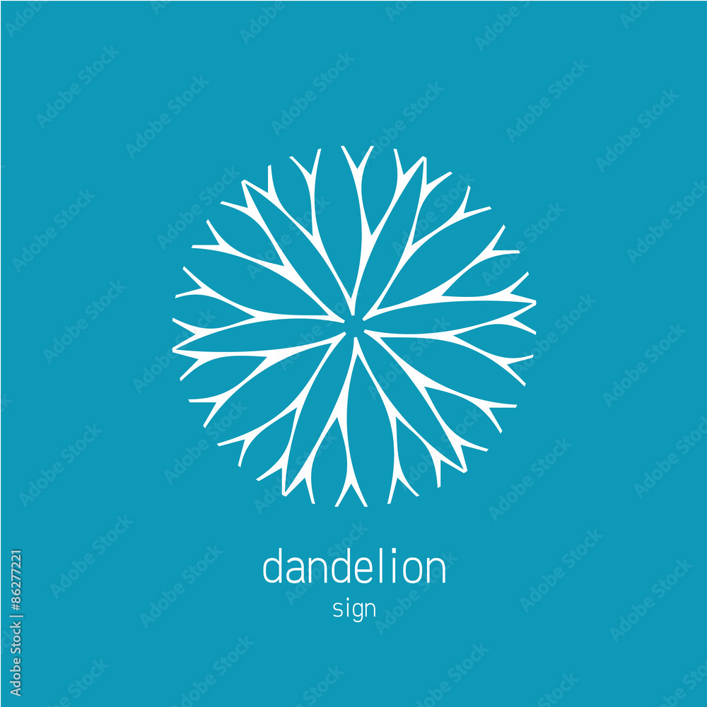 Fototapety, obrazy: Dandelion logo template. Cosmetics natural symbol.
