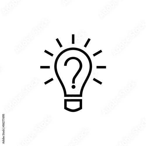 Canvas Print Light bulb lamp icon with question mark inside. Hint symbol.