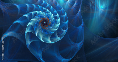 Deurstickers Fractal waves fractal shell on the sea