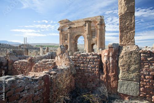 Tuinposter Algerije Roman ruins of Timgad in Algeria