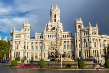 Cibeles Palace and Cibeles fountain at Plaza de Cibeles in Madri