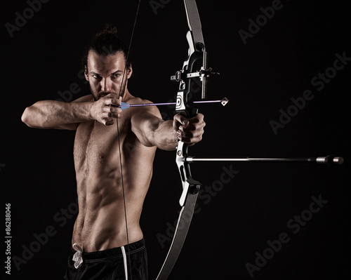 bow-hunter with a modern compound bow Wallpaper Mural
