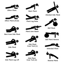 Plank Training Variations Exercise Vector Illustrations