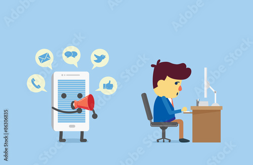 Smart phone have many alert with speech bubbles from megaphone to distraction working businessman - 86306835