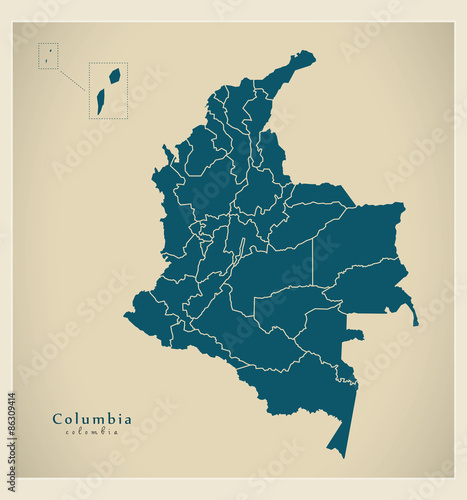 Fototapeta Modern Map - Colombia with departments and islands CO