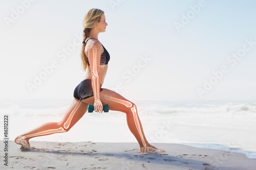 Photo Highlighted bones of exercising woman