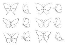 Set Of Black Silhouettes Butterflies
