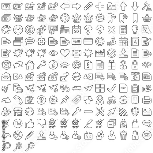 Fotografie, Obraz  Schwarze Web Symbole in Liniendarstellung
