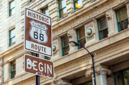 Fotobehang Route 66 Route 66 sign in Chicago